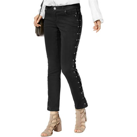 I-N-C Womens Lace-Up Straight Leg Jeans - 6
