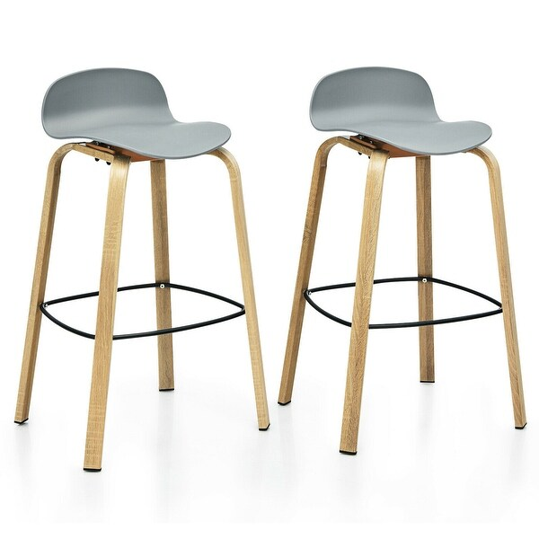 Gymax Modern Set of 2 Barstools 30inch Pub Chairs w/Low Back & Metal. Opens flyout.
