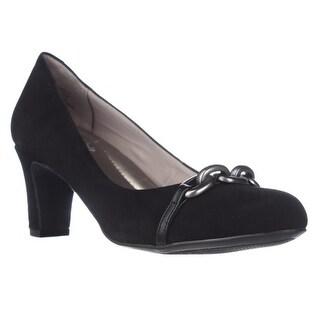 Easy Spirit Rickeeta Chain Toe Dress Pumps - Black Suede