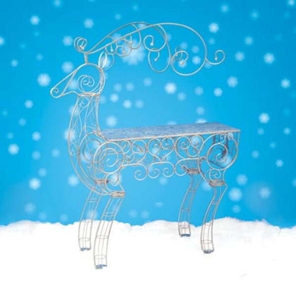 6.75' Commercial Sized Reindeer Figure Decorative Christmas Display Table - silver