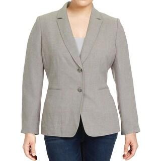 Tahari ASL Womens Two-Button Blazer Crosshatch Textured