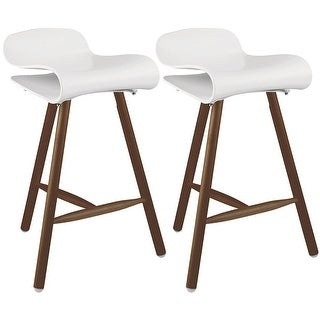 "2xhome Set of Two (2) White 26.5"" Modern Style Tri-Leg Backless Barstool With Dark Wood Legs"