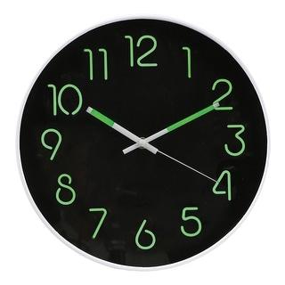 "Glow In The Dark Wall Clock - Analog Retro Style - 12"" Diameter Phosphorescent Hands & Numbers - 12 in. x 1 in. x 12 in."