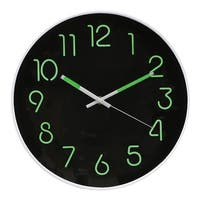 "Glow In The Dark Wall Clock - Analog Retro Style - 12"" Diameter Phosphorescent Hands & Numbers - 12 in. x 1 in. x 12 in."