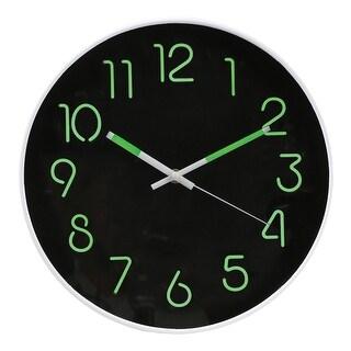 """Glow In The Dark Wall Clock - Analog Retro Style - 12"""" Diameter"""
