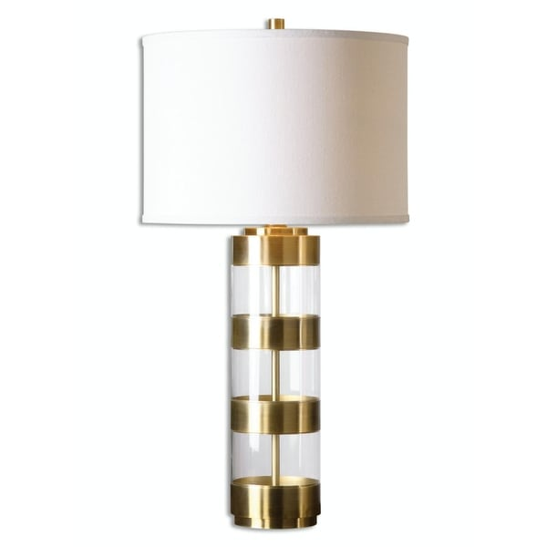 Shop 31 Modern Metal Banded And Acrylic Table Lamp With Round Beige
