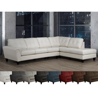 Link to Tory Top Grain Leather Tufted Left/ Right-facing Sectional Sofa Similar Items in Living Room Furniture