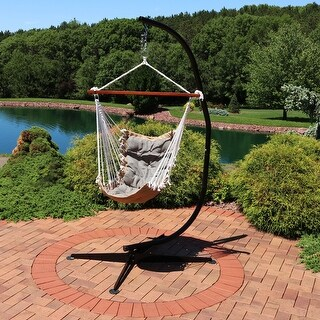 Sunnydaze Tufted Victorian Hammock Swing with C-Stand - 300-Pound Limit - Gray