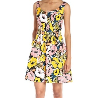 Nine West NEW Yellow Women's Size 16 Pleated Fit & Flare Floral Dress