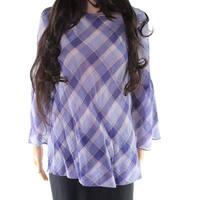 Lauren by Ralph Lauren Purple Women's Medium M Plaid Print Blouse