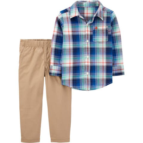 Carters Boys 2T-4T Plaid Woven Pant Set - Blue