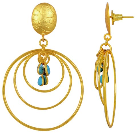 Created Turquoise Brass Pear Dangle Earrings by Fashionablez