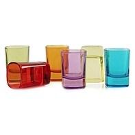 Palais Glassware Elegent Heavy Base 'Carré', Square Shot Glass Set, 2 Ounce (Set of 6) (Full Colored)