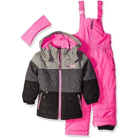 Pink Platinum Girls 4-6X Snowsuit Ear Warmer Set