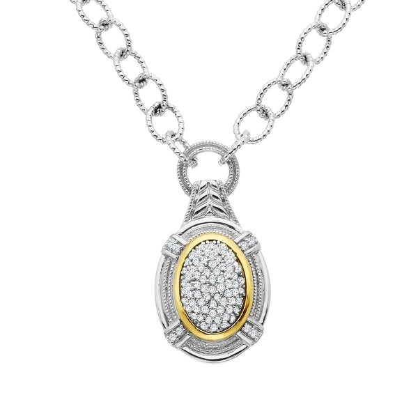 1/4 ct Diamond Necklace in Sterling Silver & 14K Gold