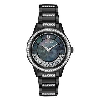 Bulova Women's 98L252 Turnstyle Black IP Stainless Crystal Accent Bracelet Watch