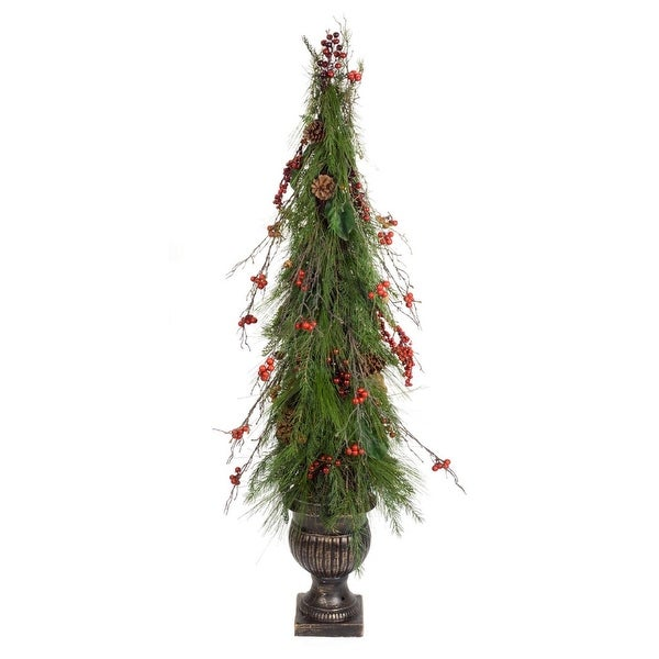 Shop 5 Green And Red Artificial Pine Conemagnolia Leafberry