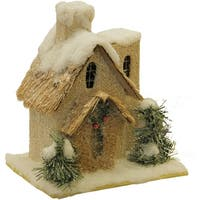 """9.25"""" Snow Covered House with Shrubs Christmas Tabletop Decoration - brown"""