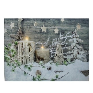 "LED Lighted Country Rustic Winter Christmas Canvas Wall Art 12"" x 15.75"""