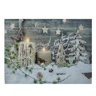 """LED Lighted Country Rustic Winter Christmas Canvas Wall Art 12"""" x 15.75"""" - Brown"""