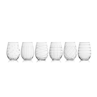 Fifth Avenue Crystal Medallion Stemless Wine Glasses, Set of 6
