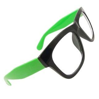 Women Green Wide Temples Oversized Clear Lens Black Rimmed Glasses