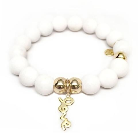 Julieta Jewelry Love Charm White Jade Bracelet