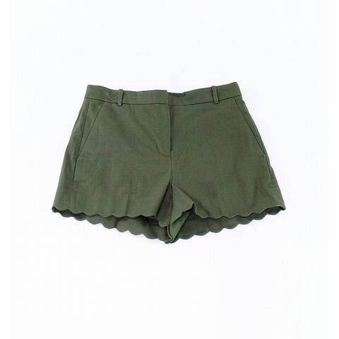 J. Crew Womens Shorts Olive Green Size 16 Flat Front Scalloped Hem