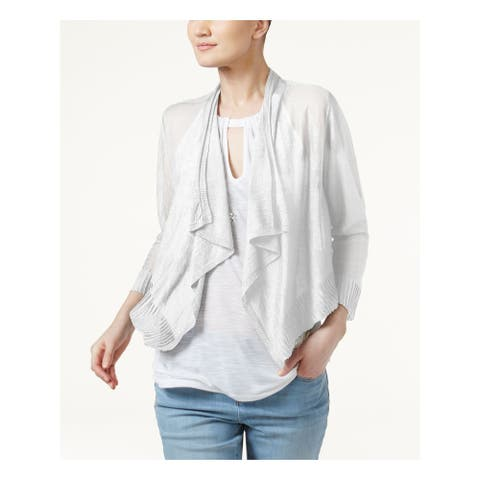 INC Womens White 3/4 Sleeve Open Cardigan Top Size M