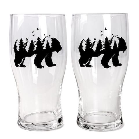 STP Goods Mountain Bear Beer Glass Set of 2 - N/A