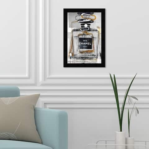 Oliver Gal 'Infinite Glam Gold' Fashion and Glam Wall Art Framed Print Perfumes - Gray, Black
