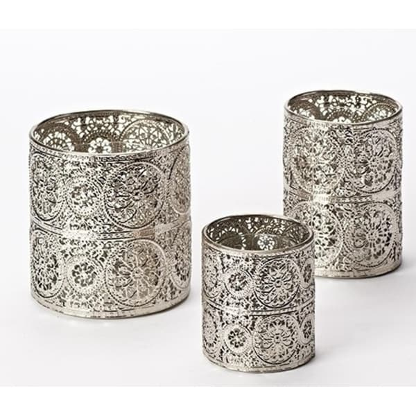 """3 Piece Set of Unique Metal Candle Holders 5.5"""""""
