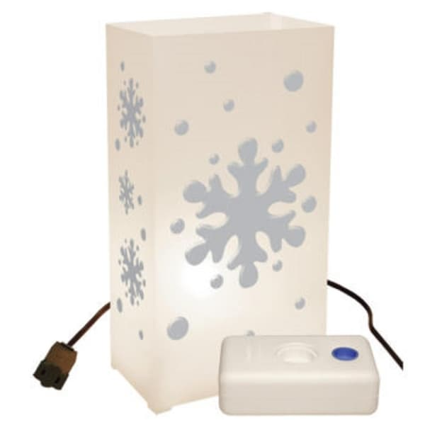 Set of 10 Lighted Winter Snowflake Luminaria Pathway Markers Kit with LumaBase - WHITE
