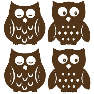 """Brewster TWPSI0842  13"""" x 13"""" - Owl Espresso Silhouette - Self-Adhesive Repositionable Vinyl Wall Decal - Set of 8"""