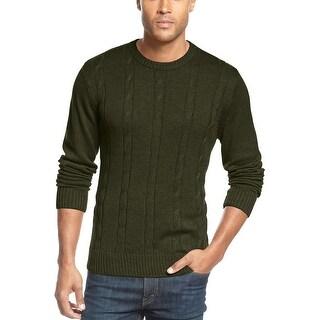 Tricots St Raphael Crewneck Sweater Medium M Olive Green Cable Knit Cotton
