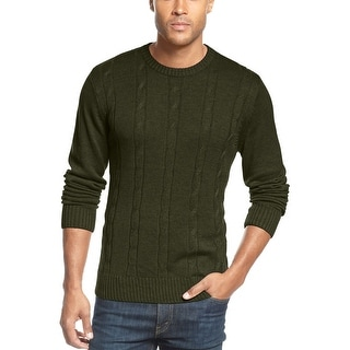 Tricots St Raphael Sweater Small S Olive Green Cable Knit Cotton Crewneck