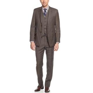 Ralph Lauren Slim Fit Brown Plaid 3pc Suit 48 Long 48L Flat Front Pants 40W