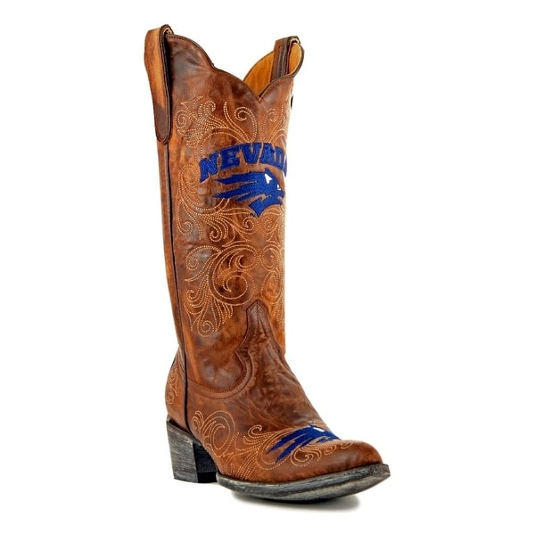 Gameday Boots Womens College Nevada Wolf pack Brass Blue