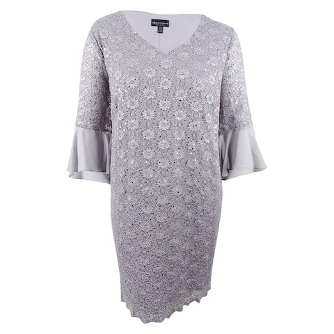 Connected Women's Plus Size Sequined Lace Bell-Sleeve Dress