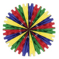 "Club Pack of 12 Red, Blue, Yellow and Green Tissue Fan Hanging Decorations 25"" - Red"