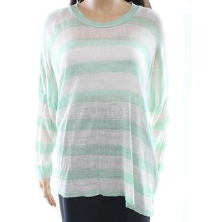 Cotton Emporium NEW Green Women Size Large L Striped Scoop Neck Sweater