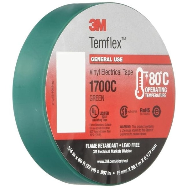3M 375659 0 75 x 66 in  Electrical Tape - Green