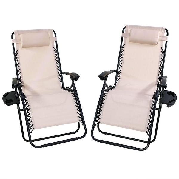 Sunnydaze Beige Oversized Zero Gravity Lounge Chair, Set of 2