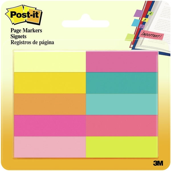 "Post-It Page Markers .5""X1.75"" 10/Pkg-Assorted Bright"