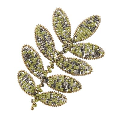 Beaded Napkin Rings With Leaf Design (Set of 4)