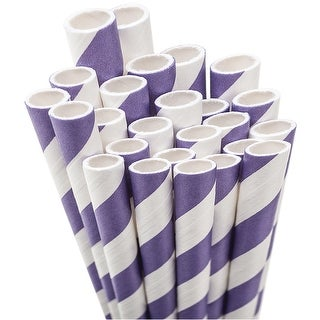 "Paper Drinking Straws 7.75"" 50/Pkg-Purple & White Striped - Purple"