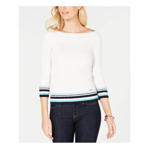 TOMMY HILFIGER Womens White 3/4 Sleeve Off Shoulder Sweater Size: XL