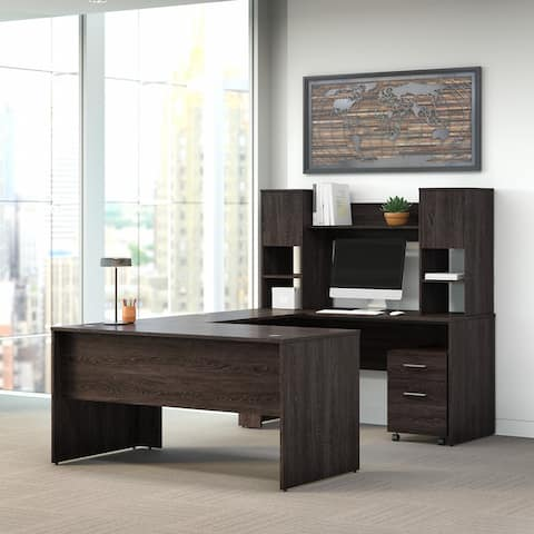 Kensington 60W U Shaped Desk with Hutch and Drawers by Bush Furniture