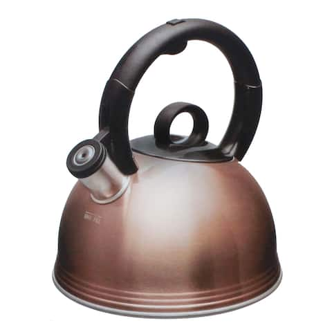 Copco 2.1 Quart Whistling Stainless Steel Tea Kettle for All Stovetop with BPA Free Ergonomic Handle, Glossy Copper Finish