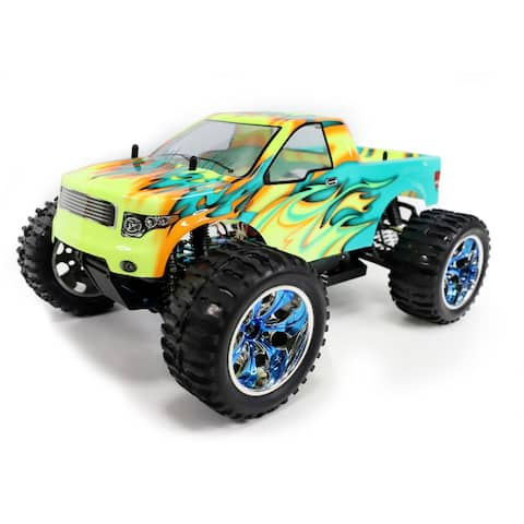 ALEKO Off-Road 4WD Electric 1:10 Scale RC Truck Blue/Yellow Flame Design - 16.5 x 12 x 7.8 inches